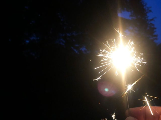 Sparkler, black trees, and blue sky